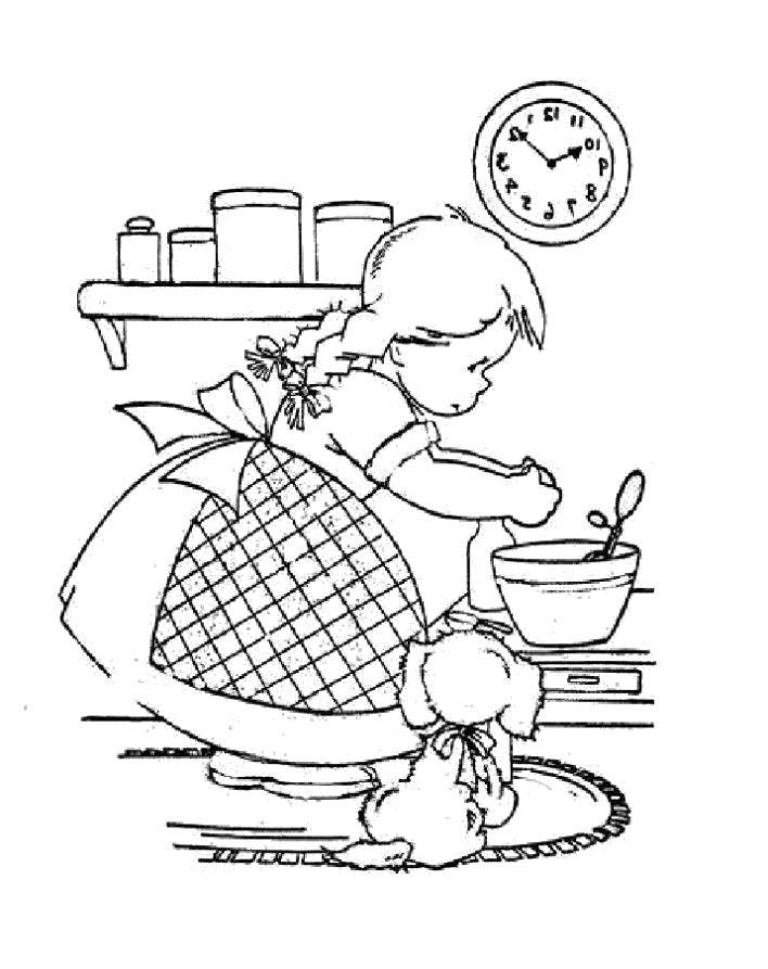 Раскраска девочка готовит. Скачать .  Распечатать