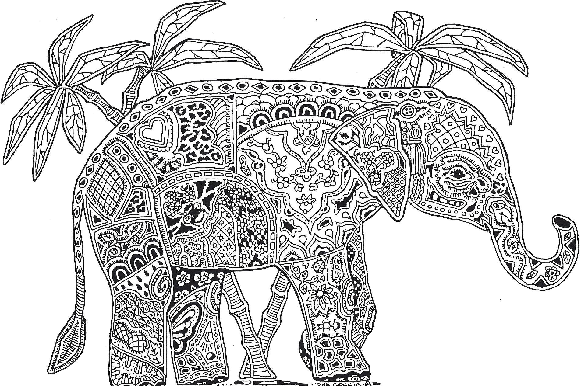 Раскраска Антистресс большой слон. Скачать слон.  Распечатать Дикие животные