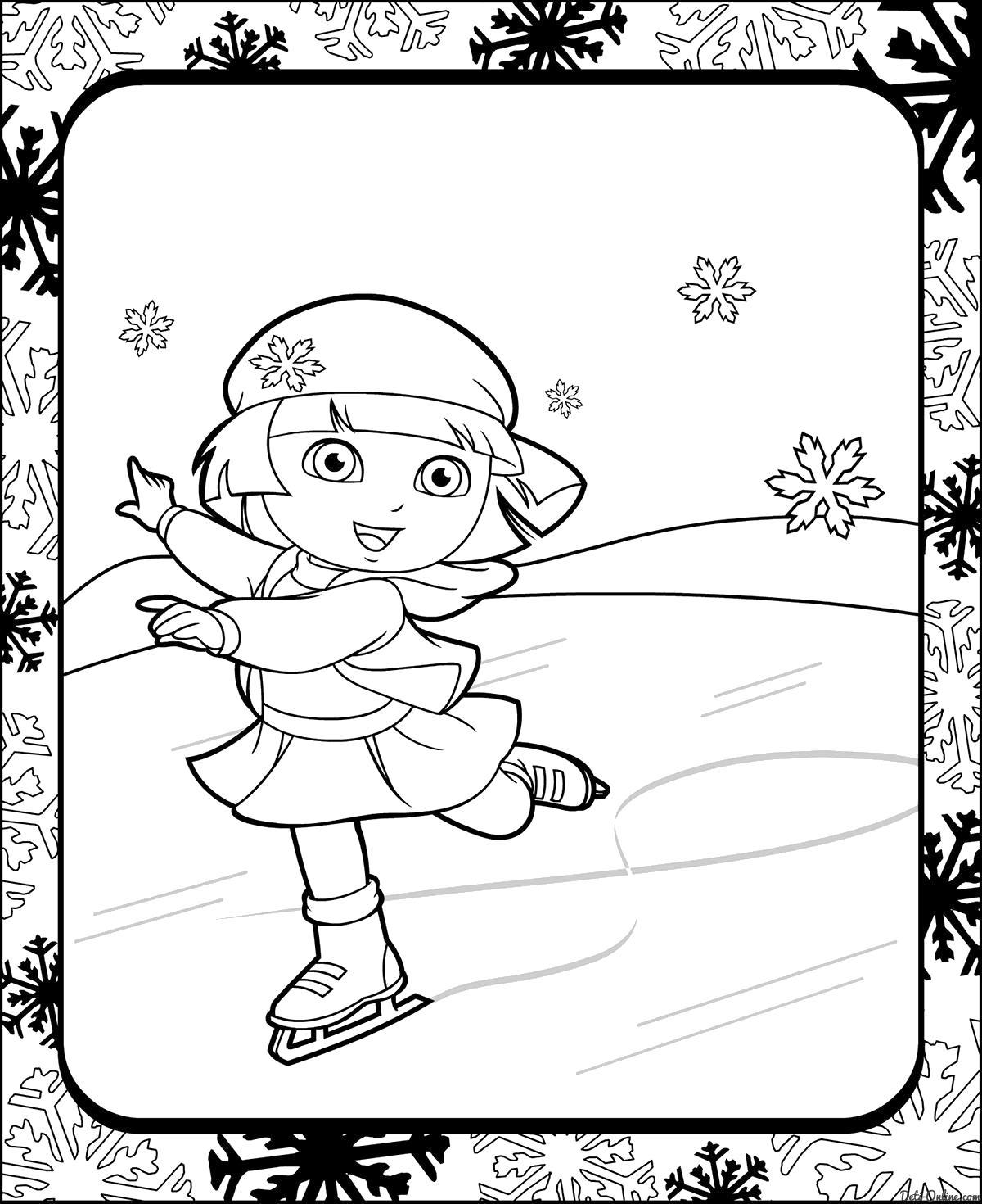 Раскраска  Даша-путешественница на коньках. Скачать .  Распечатать