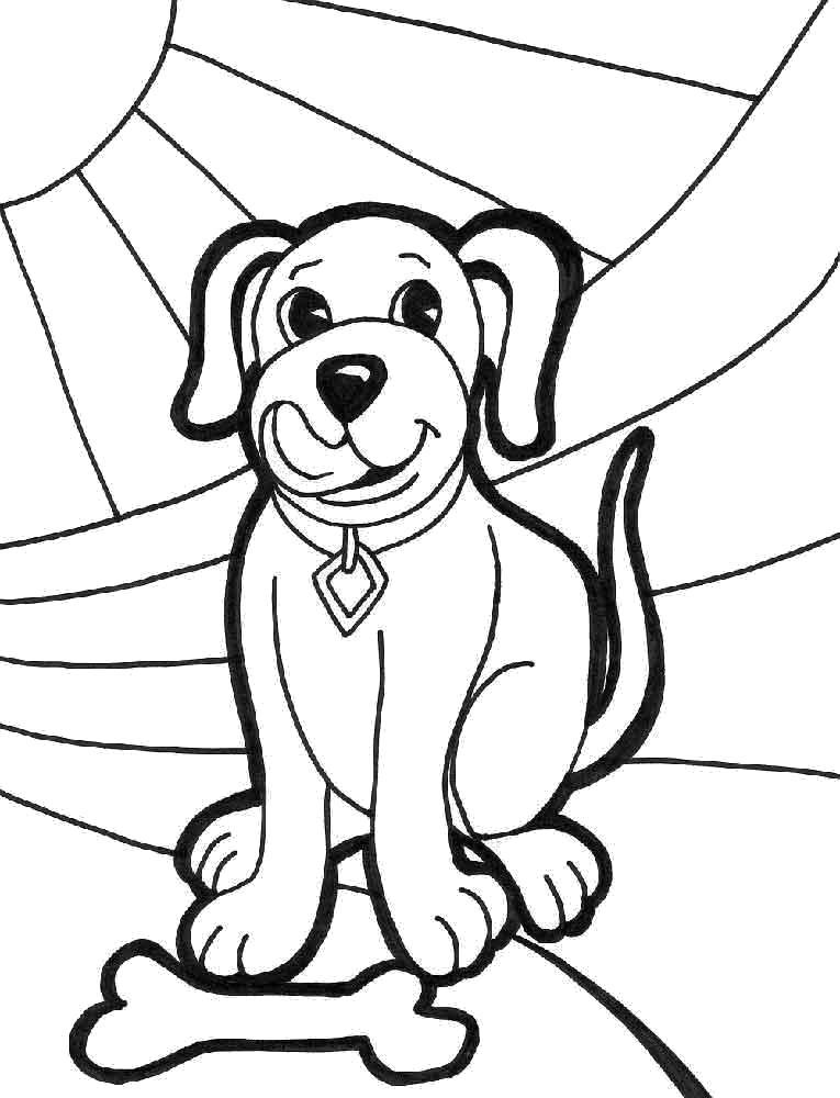 Раскраска Довольный щенок. Скачать Щенок.  Распечатать Домашние животные