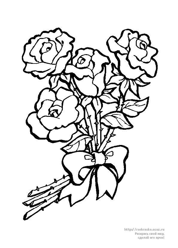 Раскраска букет цветов ко дню 8 марта. Скачать 8 марта.  Распечатать 8 марта