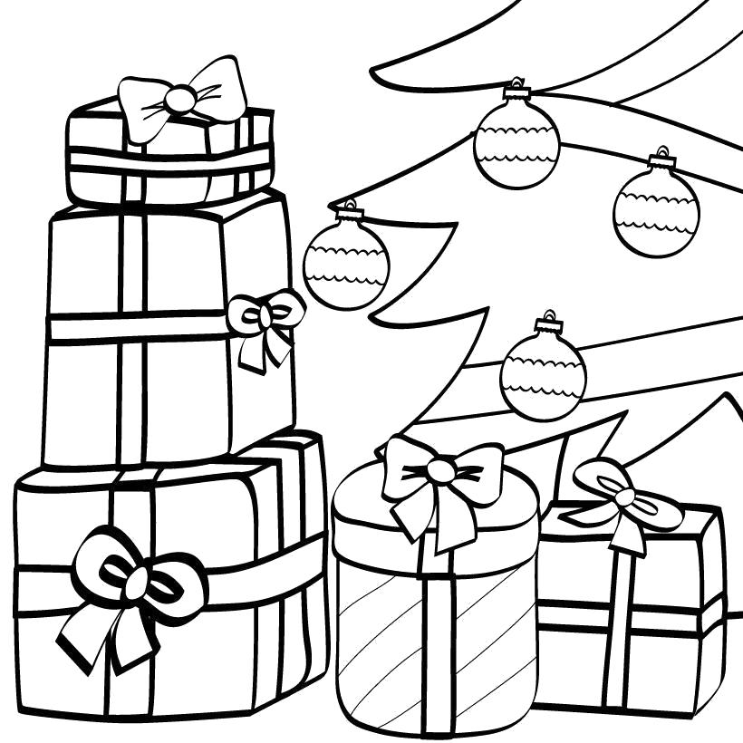 Раскраска подарки под ёлкой. Скачать .  Распечатать