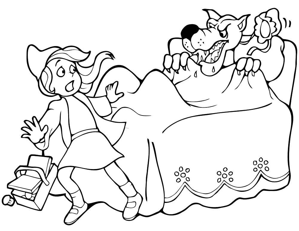 Раскраска волк представился бабушкой. Скачать красная шапочка.  Распечатать красная шапочка