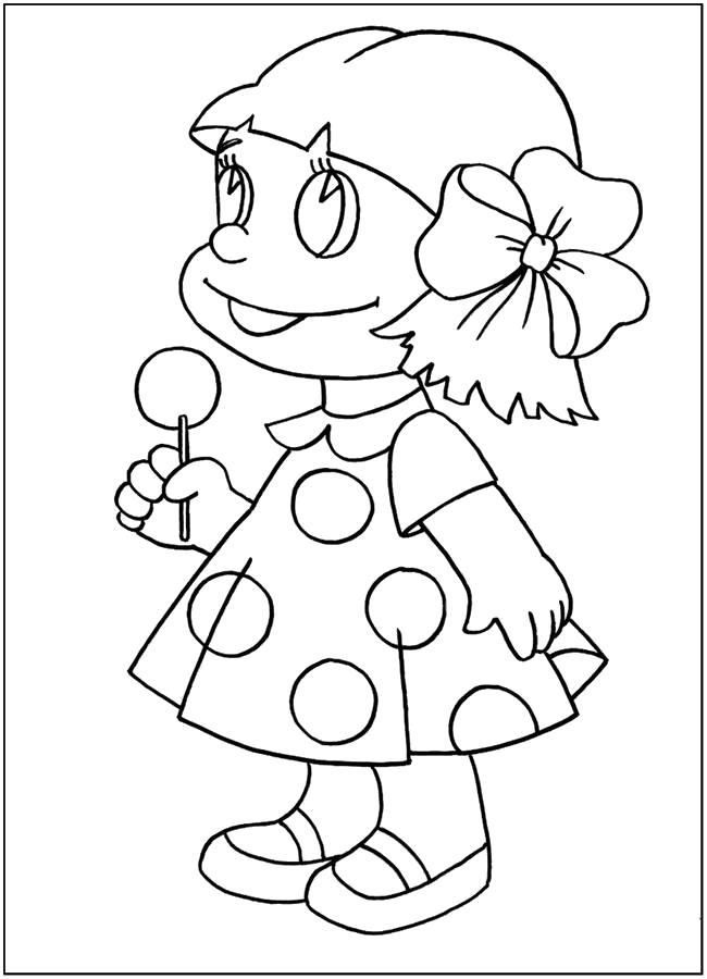 Раскраска Куколка с конфетой. Скачать кукла.  Распечатать кукла