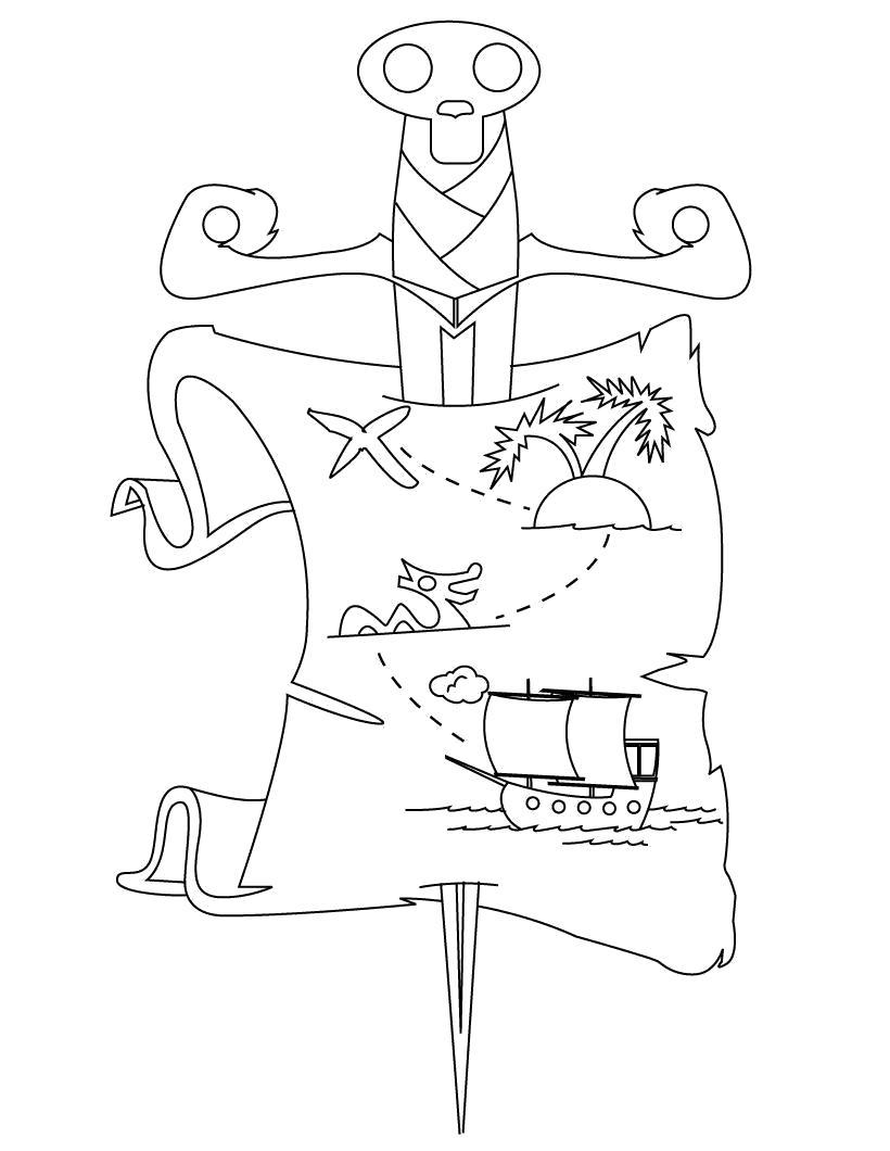 Раскраска  Карта пиратских сокровищ. Скачать Пират.  Распечатать Пират