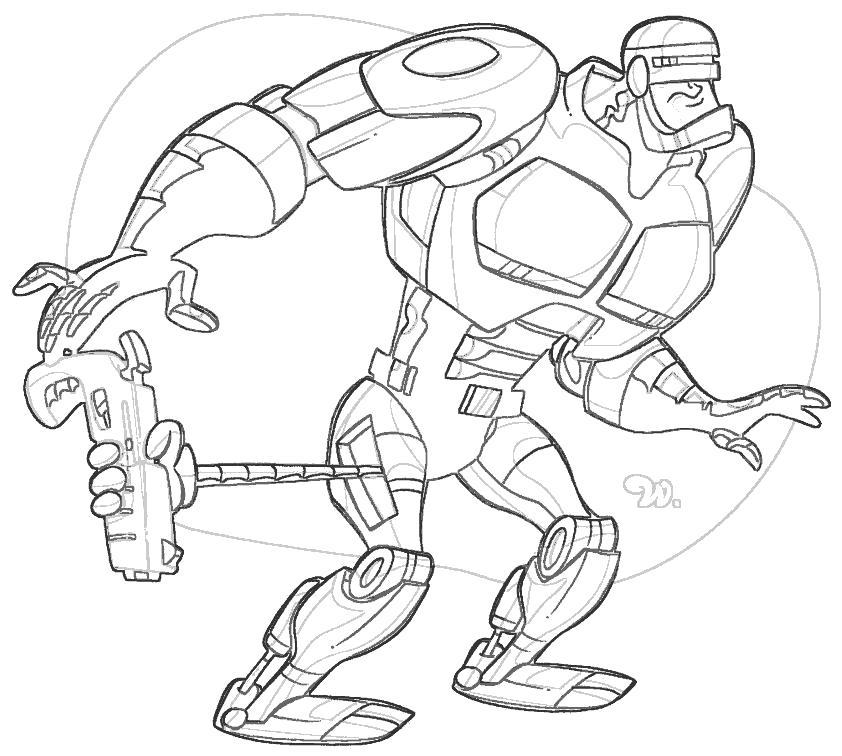 Раскраска Робокоп. Скачать Робокоп.  Распечатать Робокоп