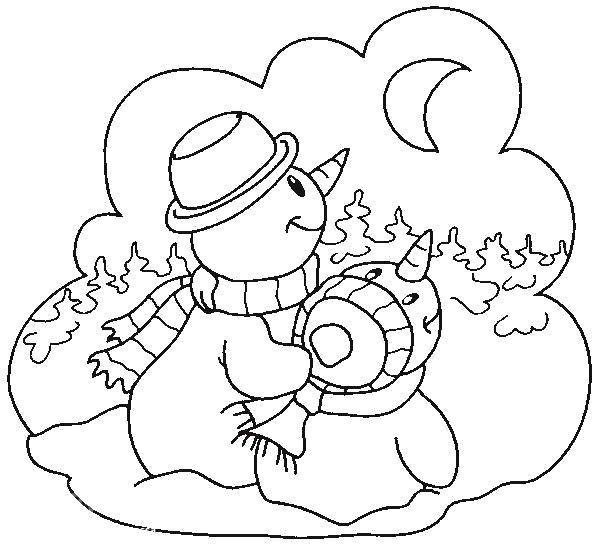 Раскраска рисунки снеговики смотрят на луну. Скачать новогодние.  Распечатать новогодние