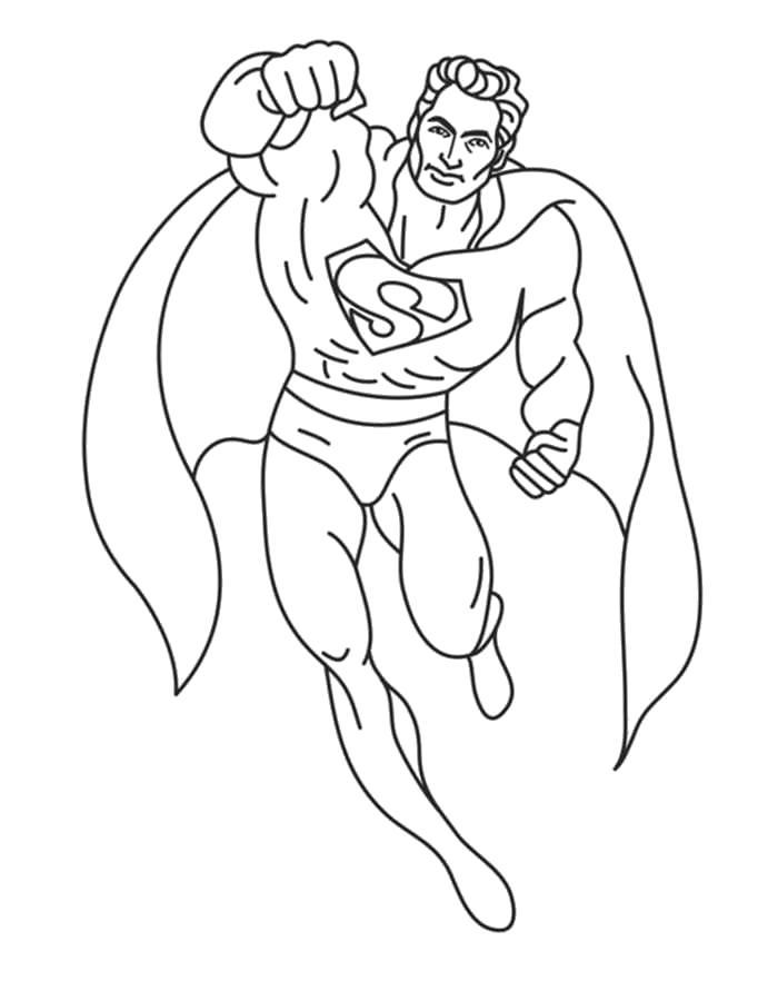 Раскраска  супергерои, супермен летит на помощь. Скачать Супергерои.  Распечатать Супергерои