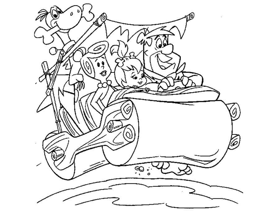 Раскраска  Флинстоуны, флинстоуны катаются на катке. Скачать Флинстоуны.  Распечатать Флинстоуны