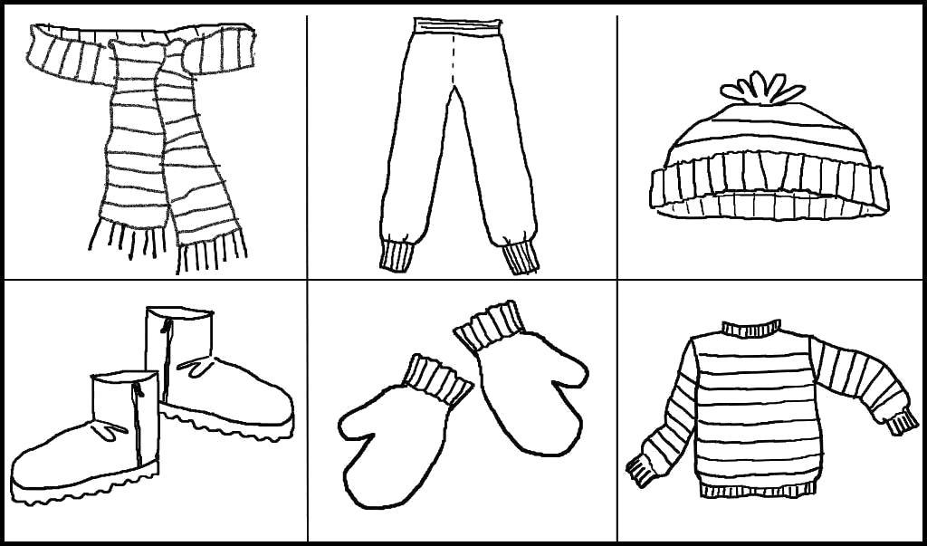 Раскраска Картинки зимняя одежда, кота, шапка, варежки, штаны, ботинки, шарф. Скачать Зимняя одежда.  Распечатать Зимняя одежда