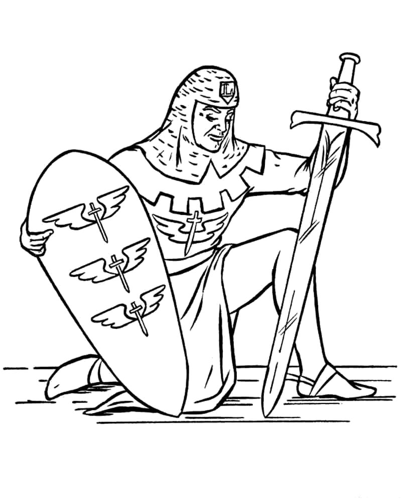 Раскраска Рыцарь. Скачать рыцари.  Распечатать рыцари