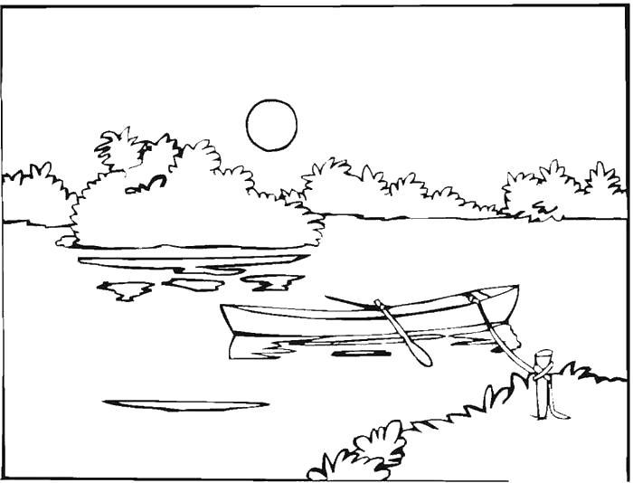 Раскраска Лето  пейзаж  пейзаж речка,лодка с веслами,солнце . Скачать Лето.  Распечатать Лето