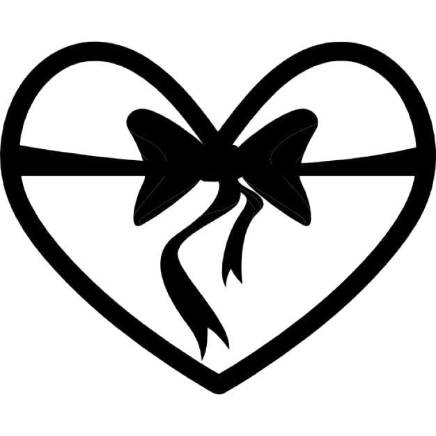 Раскраска  шаблоны сердечек для вырезания  сердце с бантиком для вырезания из бумаги. Скачать сердце.  Распечатать День святого валентина