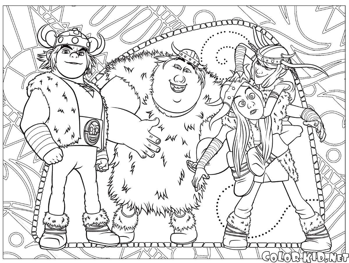Раскраска Друзья Иккинга семейка крудс. Скачать .  Распечатать