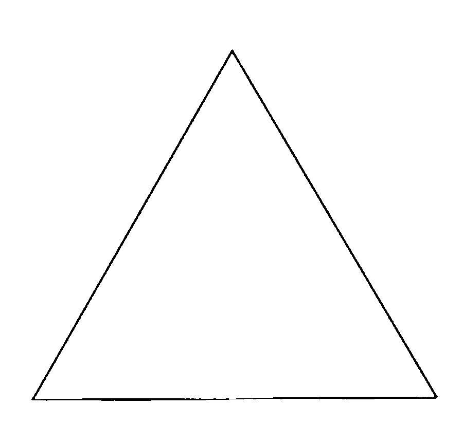 Раскраска  фигуры треугольник контур для вырезания из бумаги. Скачать треугольник.  Распечатать геометрические фигуры