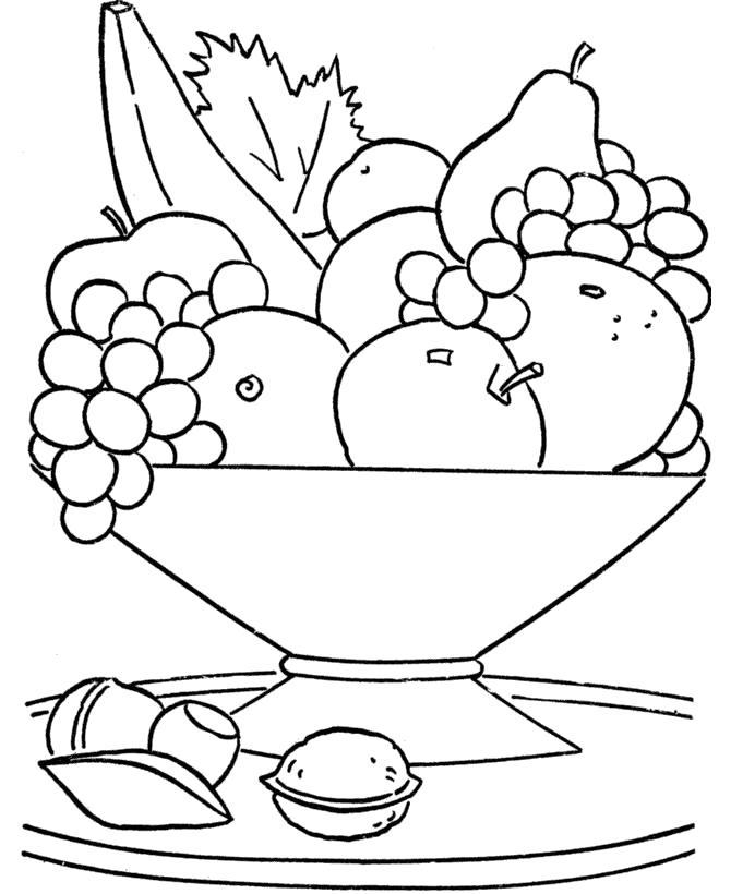 Раскраска Вкусные фрукты и орехи. Скачать .  Распечатать