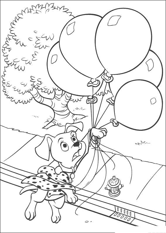 Раскраска собака летит на шаре. Скачать 101 далматинец.  Распечатать 101 далматинец