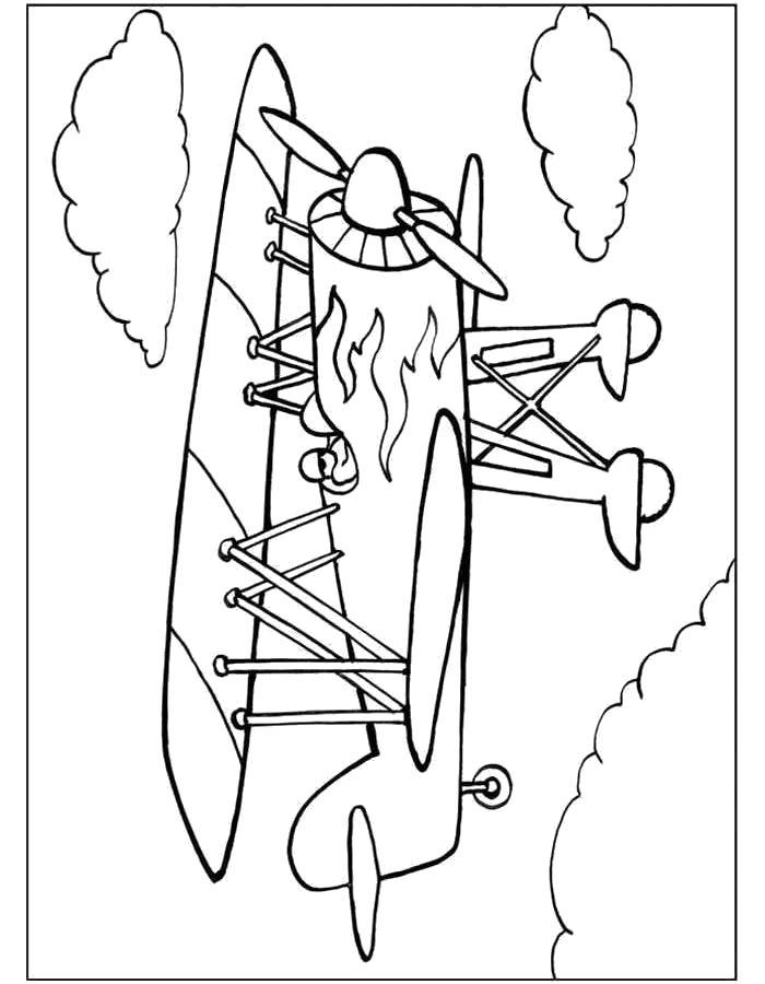 Раскраска Самолёт летит в небе. Скачать самолет.  Распечатать самолет