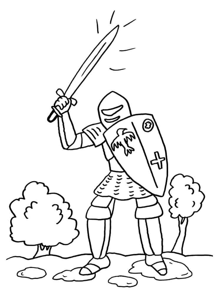 Раскраска Рыцарь с мечом. Скачать рыцари.  Распечатать рыцари
