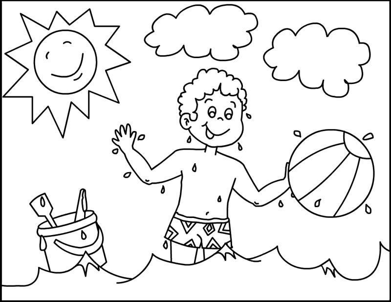 Раскраска  Ребёнок играет в песочнице. Скачать .  Распечатать