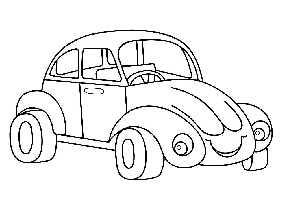 Раскраска С улыбкой Детские  для малышей, автомобиль  распечатать. Скачать Автомобиль.  Распечатать Автомобиль