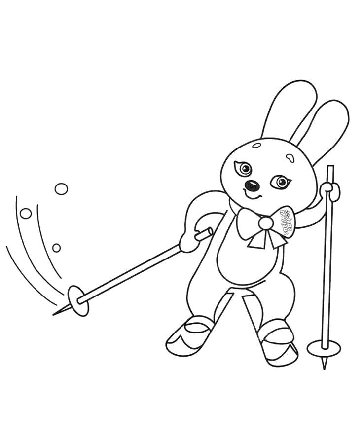 Раскраска Заяц на лыжах . Скачать Зайка.  Распечатать Зайка