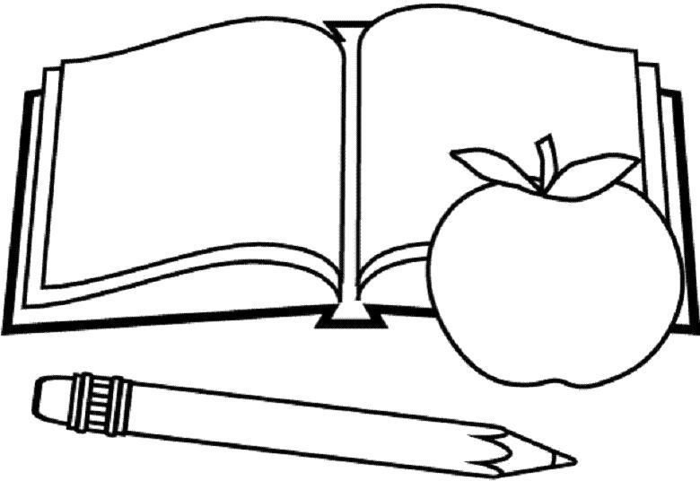 Раскраска школьная тетрадь и карандаш. нарисуй яблоко. Скачать Школа.  Распечатать Школа