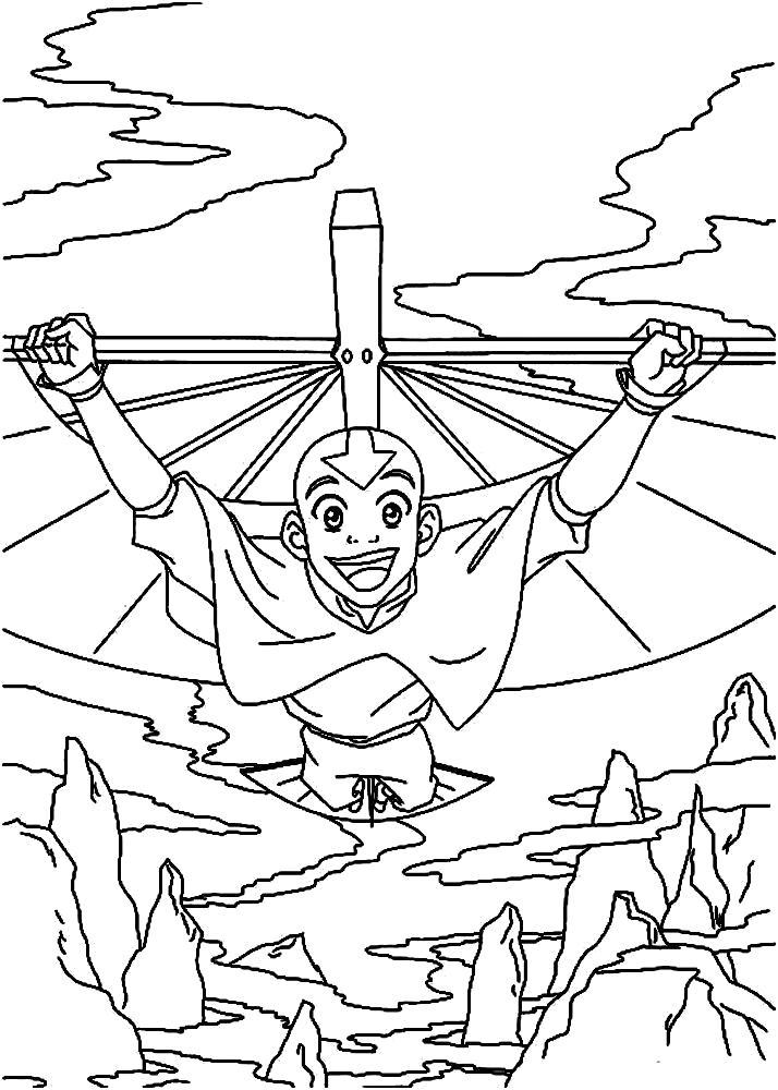 Раскраска  аватар Аанг. Скачать .  Распечатать