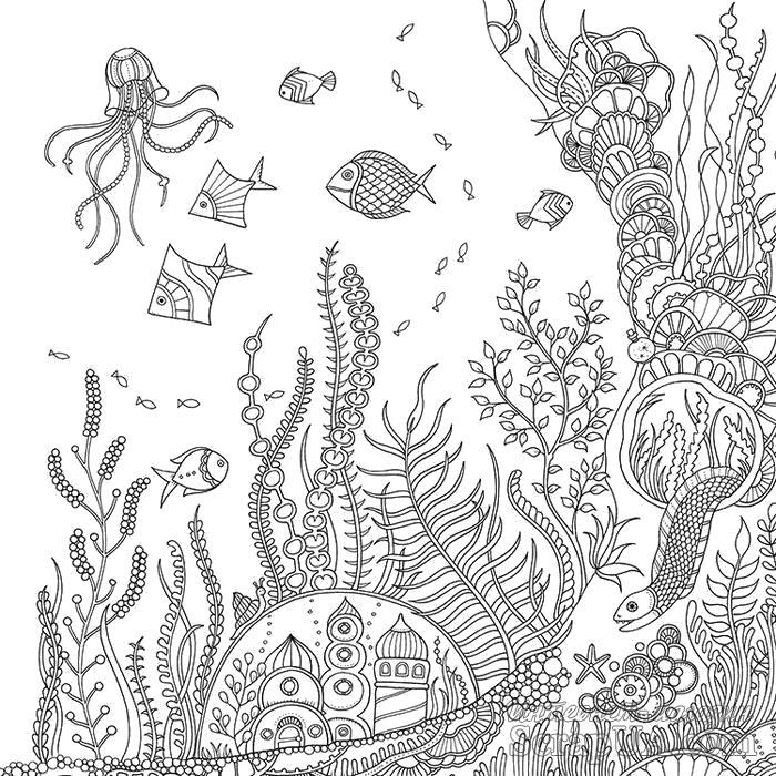Раскраска Мир под водой. Скачать животные, узоры.  Распечатать антистресс