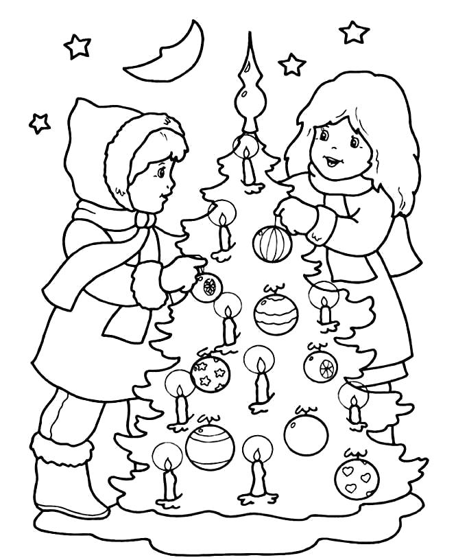 Раскраска Новогодняя елка. . Дети  украшают елку.. Скачать Елка.  Распечатать Новый год