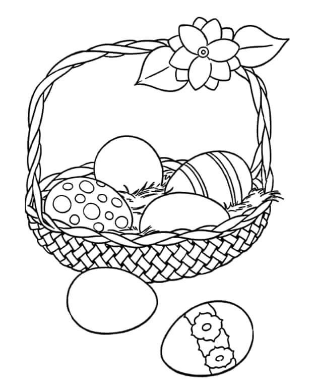 Раскраска Яйца в корзинке. Скачать Пасха.  Распечатать Пасха
