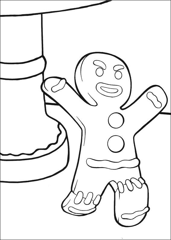 Раскраска Пряник из мультфильма Шрек. Скачать шрек.  Распечатать шрек