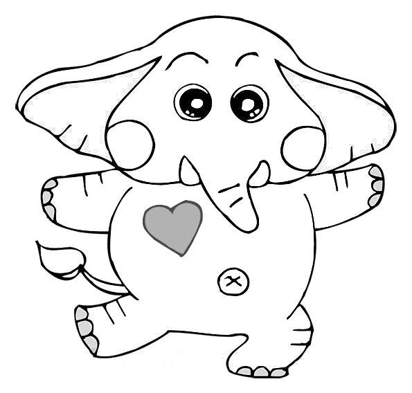 Раскраска танцующий слоник. Скачать слон.  Распечатать Дикие животные