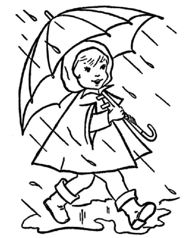 Раскраска Дождик осенью. Скачать Осень.  Распечатать Времена года