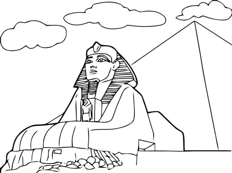 Раскраска Сфинкс. Скачать Египет.  Распечатать Египет