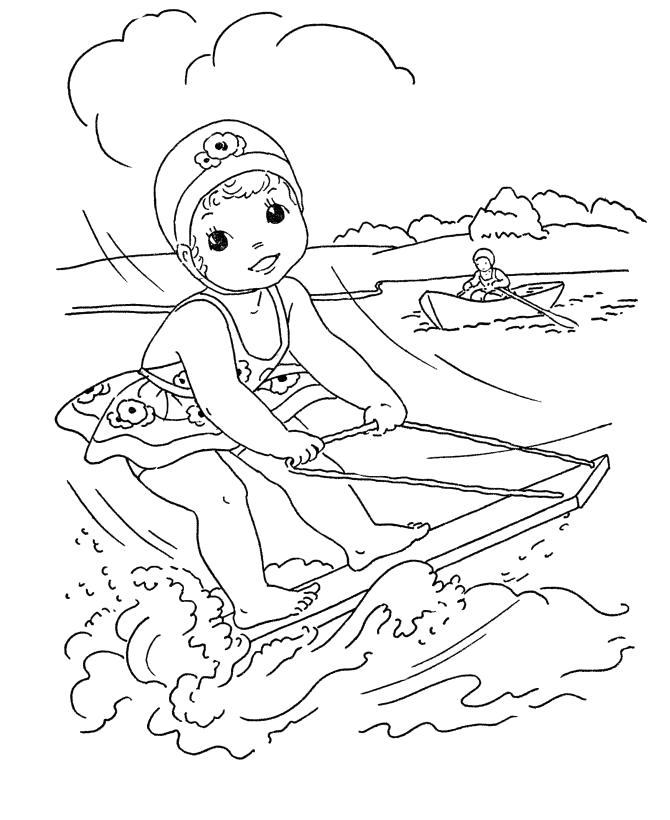 Раскраска Смотреть раскраску дети летом, катание на доске по волнам, лодка . Скачать Лето.  Распечатать Лето