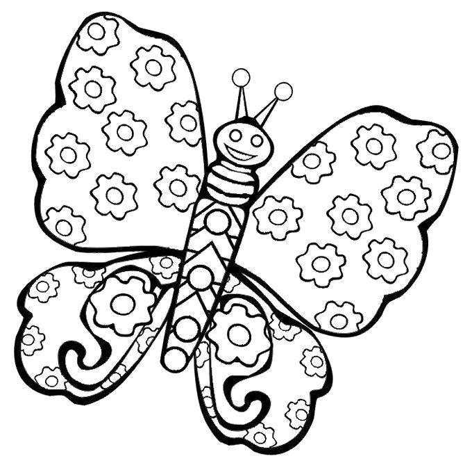 Раскраска отличная бабочка. Скачать .  Распечатать