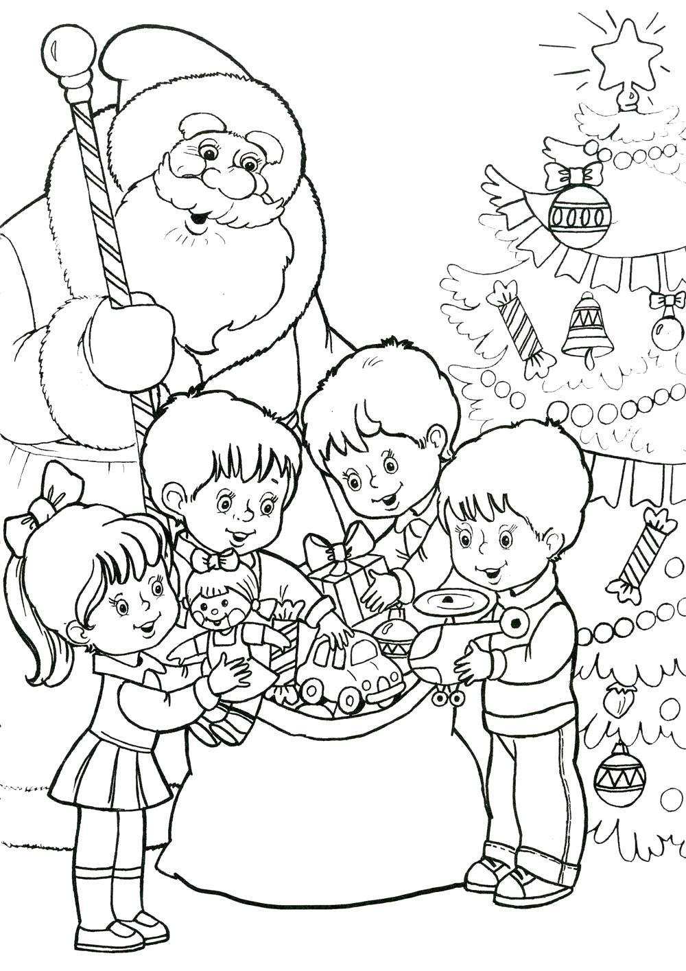 Раскраска . Новый год. Дед мороз  дарит подарки детям на утреннике. . Скачать Новогодний утренник.  Распечатать Новый год