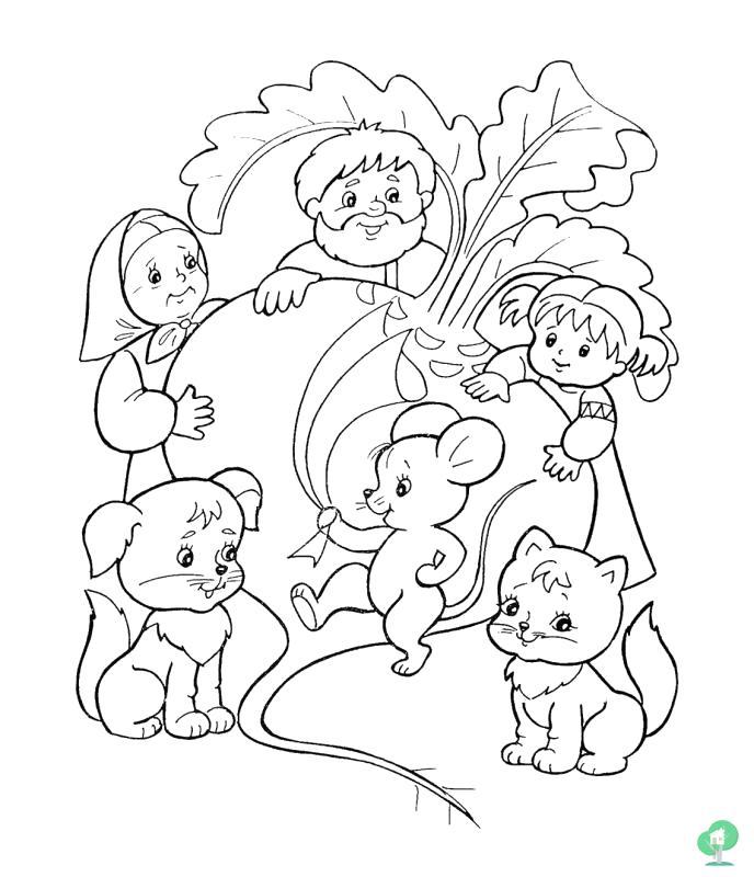 Раскраска русская народная сказка репка читать онлайн с картинками вытянули. Скачать репка.  Распечатать сказки