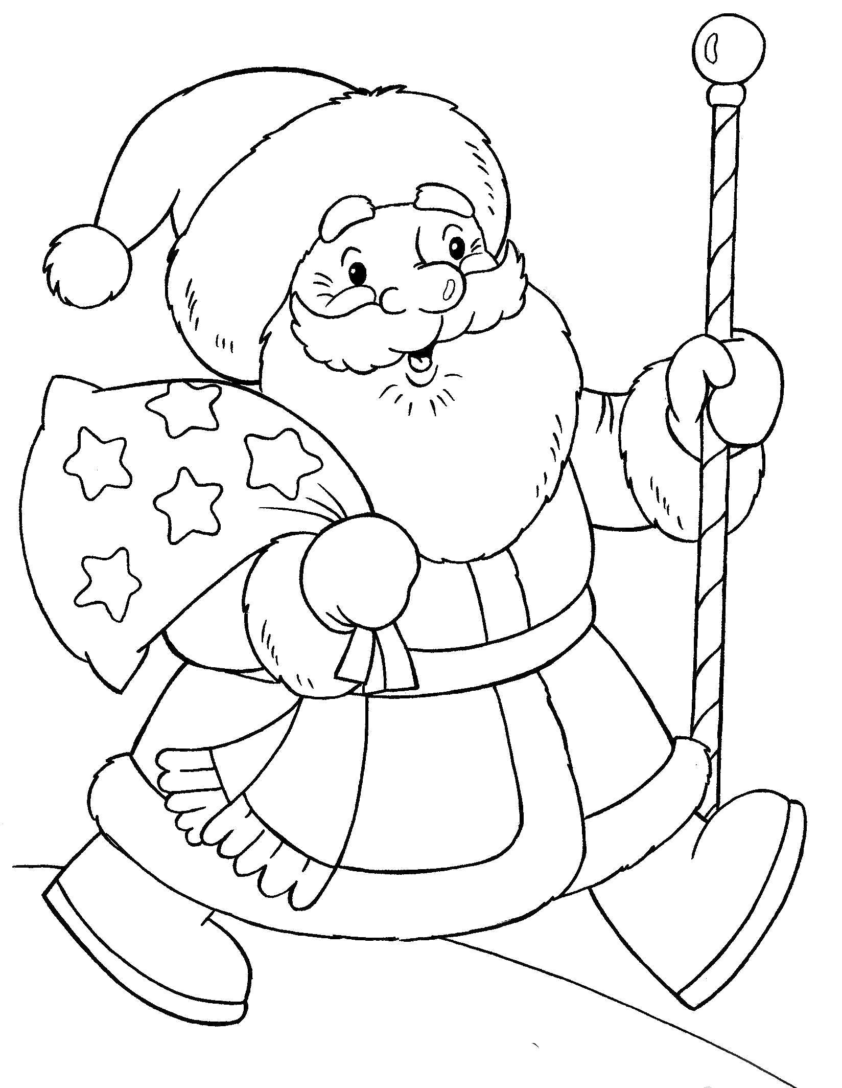 Раскраска Дед МОроз бежит с мешком подарков. Скачать дед мороз с подарками.  Распечатать Дед мороз