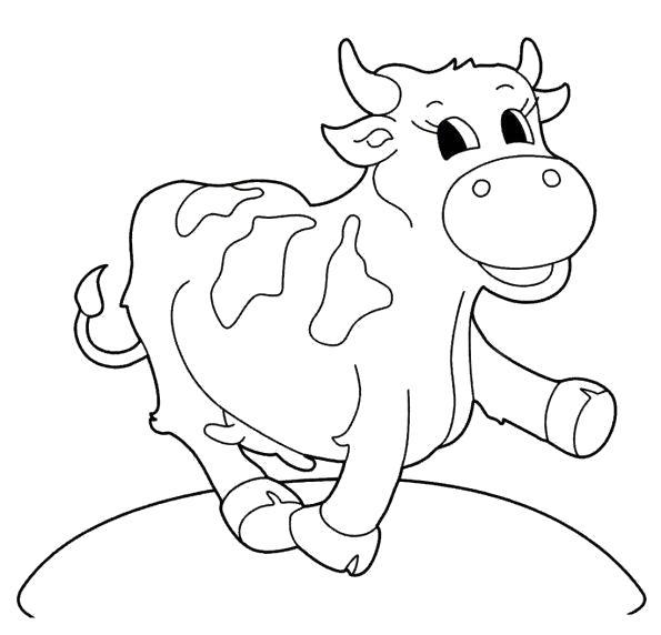 Раскраска Корова шагает вперед. Скачать Корова.  Распечатать Домашние животные