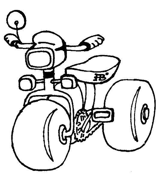 Раскраска велосипед трехколесный. Скачать .  Распечатать
