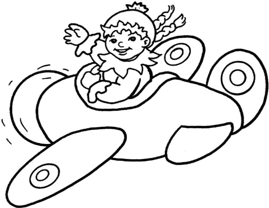 Раскраска самолет с ребенком. Скачать самолет.  Распечатать самолет