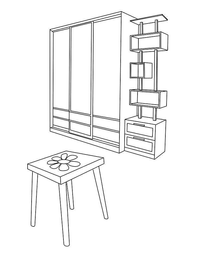 Раскраска  мебель. шкаф с зеркалом. . Скачать мебель.  Распечатать мебель