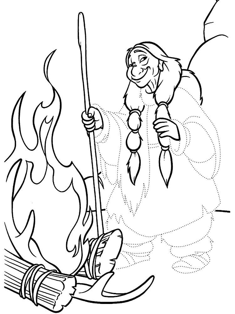 Раскраска Обвести по точкам рисунки баба яга. Скачать по точкам.  Распечатать по точкам