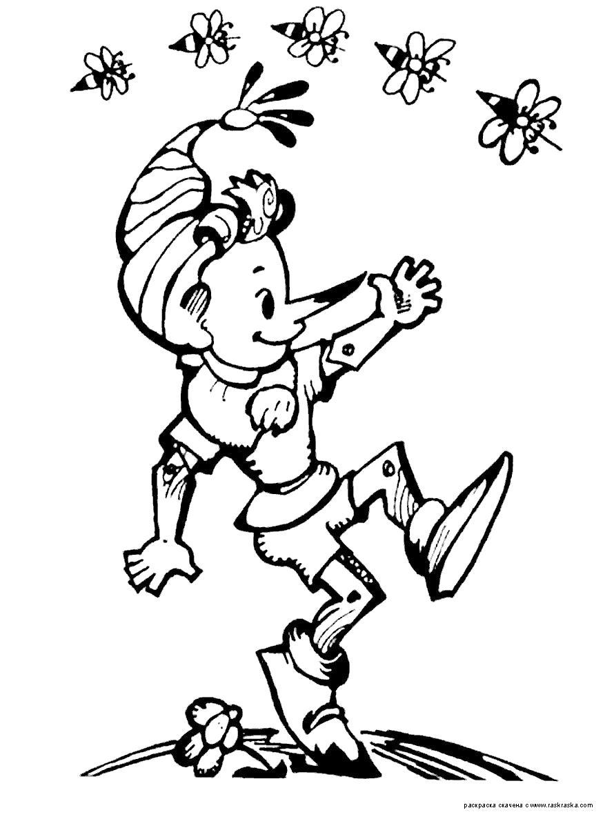 Раскраска  Буратино.  . Скачать буратино.  Распечатать герои сказок
