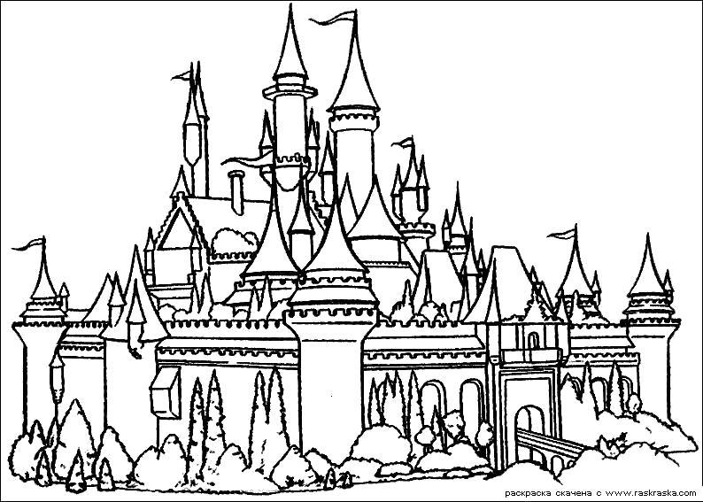 Раскраска  Замок неприступен.  Дворец, разукрашка из мультфильма Шрек. Скачать .  Распечатать шрек