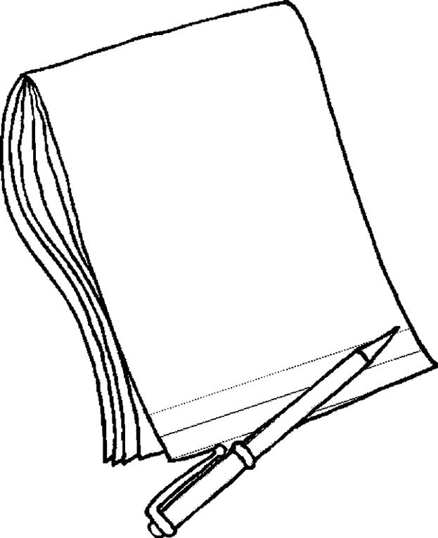 Раскраска Ручка и блокнот. Скачать Ручка.  Распечатать Ручка