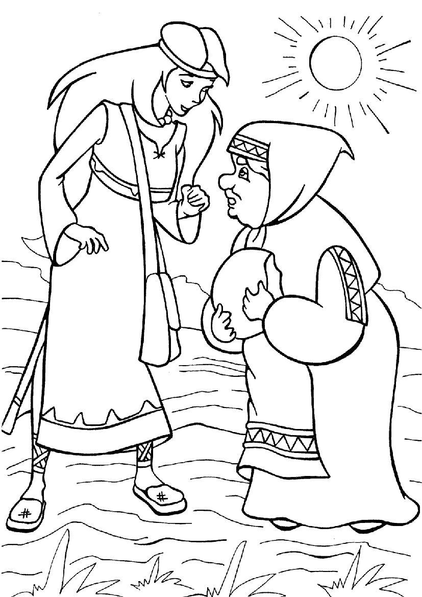 Раскраска  - Илья Муромец и Соловей Разбойник. Скачать Илья муромец.  Распечатать Илья муромец