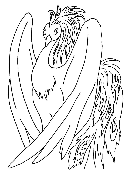 Раскраска Жар Птица. Скачать конек горбунок.  Распечатать конек горбунок